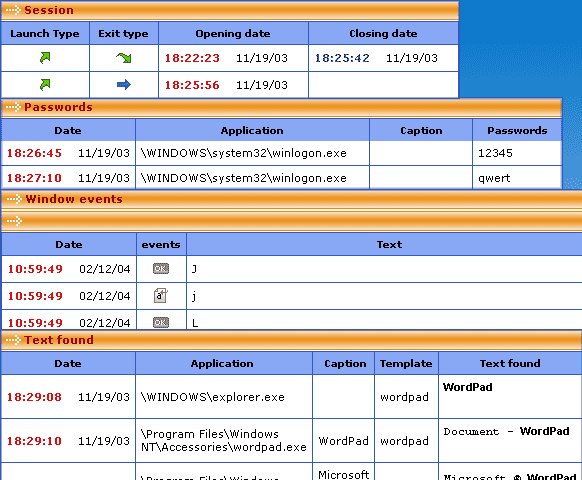 PC Activity Monitor Standard Screenshot