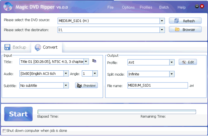 Magic DVD Ripper Screenshot