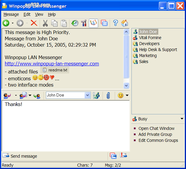 Winpopup LAN Messenger Screenshot 3