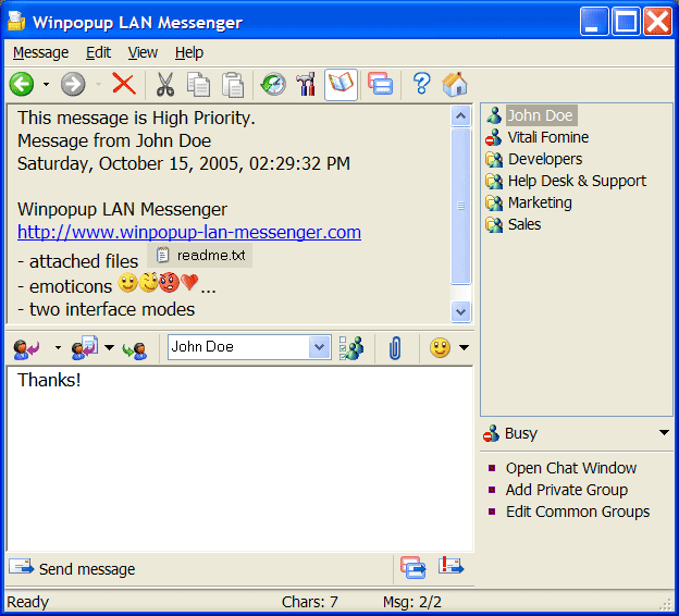 Winpopup LAN Messenger Screenshot
