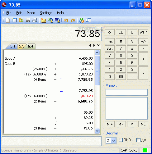 Deskcalc - Desktop adding machine with tape Screenshot 2