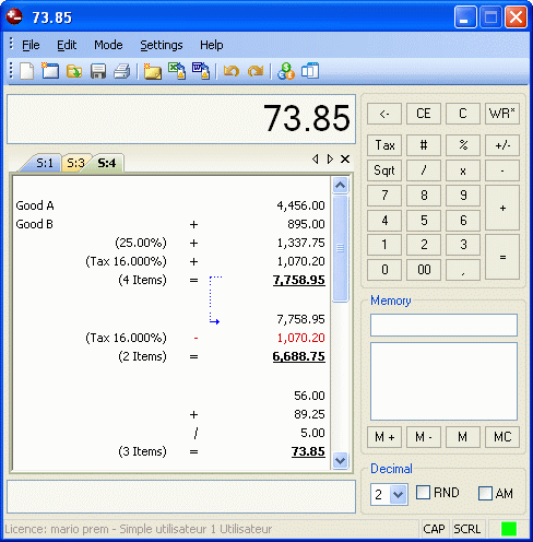 Deskcalc - Desktop adding machine with tape Screenshot