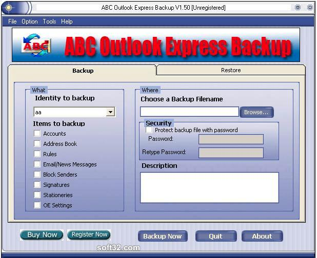 ABC Outlook Express Backup Screenshot
