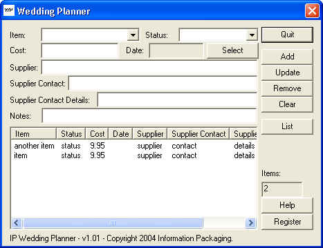 IP Wedding Planner Screenshot 1