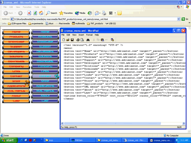 Cromas xml menu Screenshot