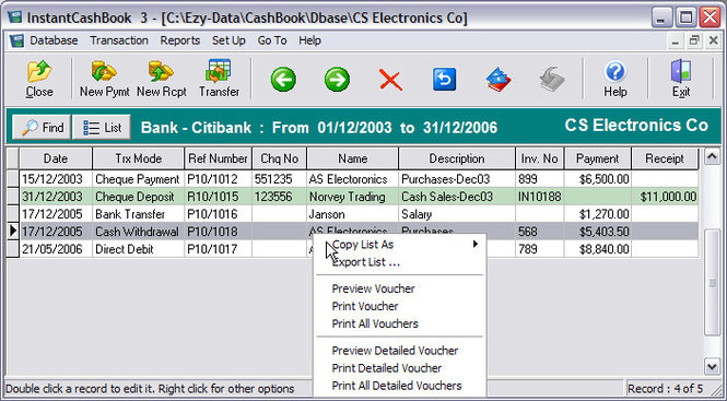 InstantCashBook Screenshot