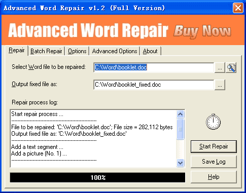 Advanced Word Repair Screenshot