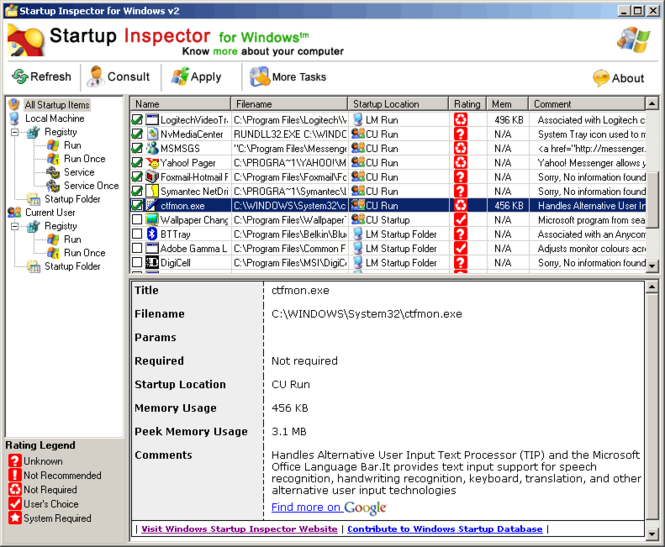 Startup Inspector for Windows Screenshot