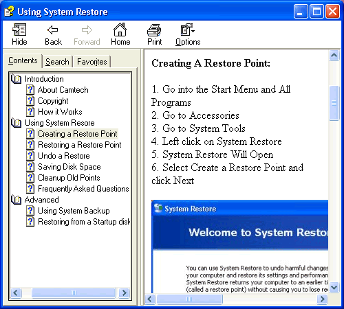 Using System Restore Screenshot