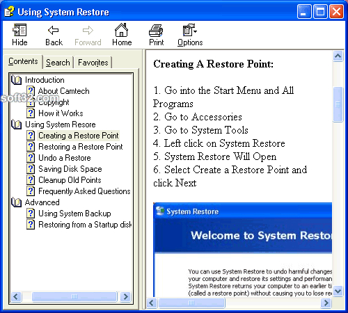 Using System Restore Screenshot 3