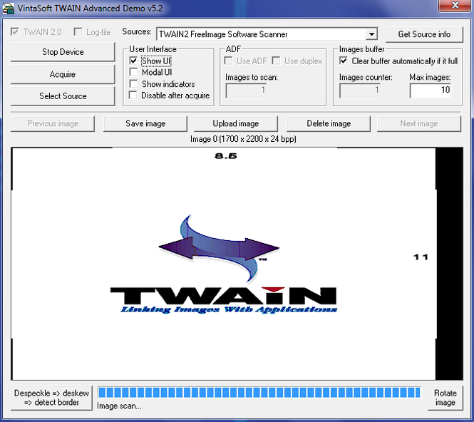 VintaSoftTwain ActiveX Control Screenshot