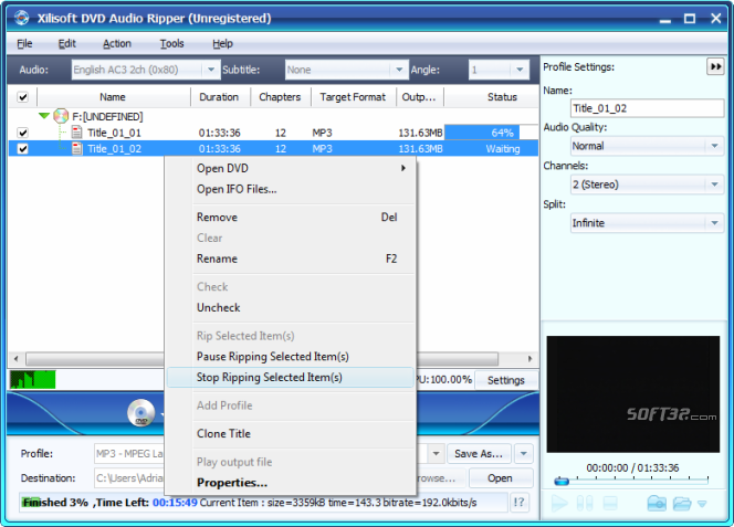 Xilisoft DVD Audio Ripper Screenshot 2