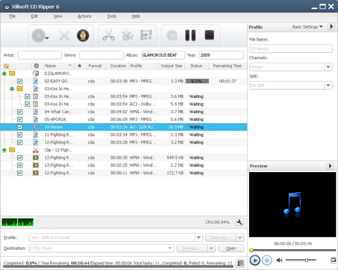 Xilisoft CD Ripper Screenshot