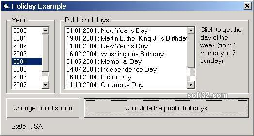 Holiday ActiveX Screenshot 3