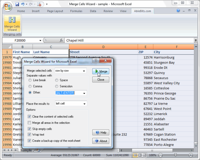 Merge Cells Wizard for Excel Screenshot 1