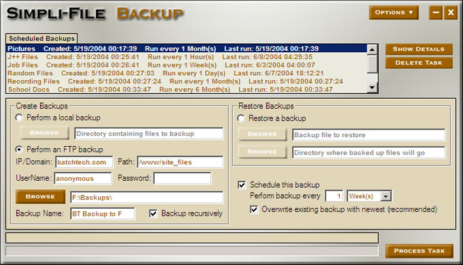 Simpli-File Backup Screenshot