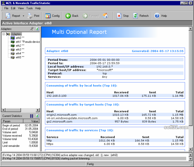 Network Traffic Multi Optional Report Screenshot 1