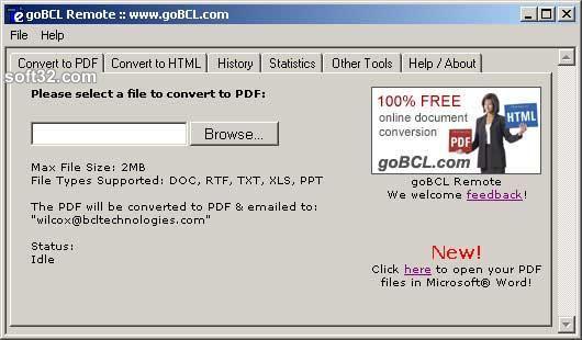 goBCL Remote File Converter Screenshot