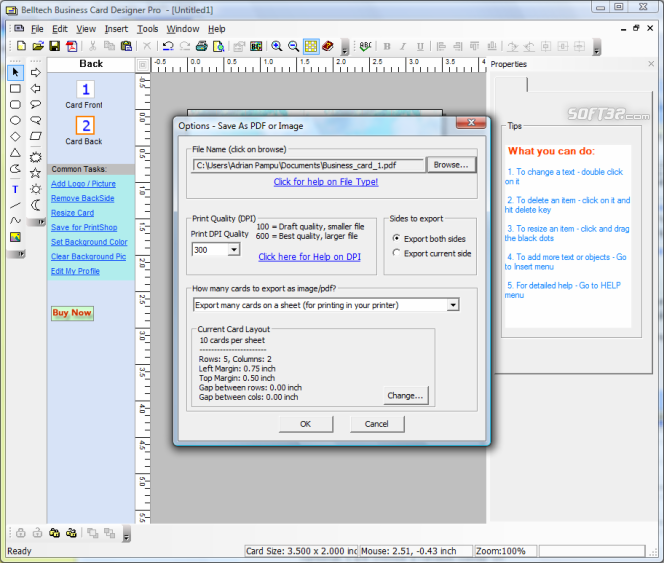 Belltech Business Card Designer Pro Screenshot 4