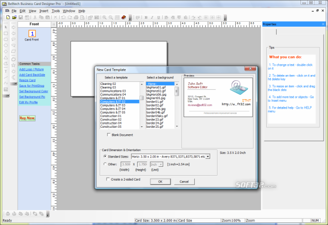 Belltech Business Card Designer Pro Screenshot 2