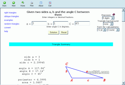 Solving Triangles Screenshot