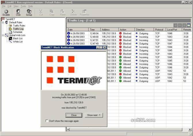 TermiNET - Personal Firewall Screenshot 1