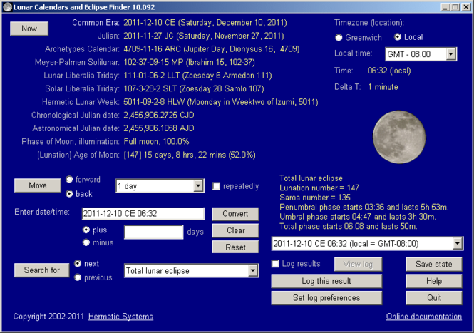 Lunar Calendars and Eclipse Finder Screenshot 1