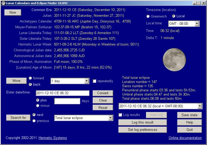 Lunar Calendars and Eclipse Finder Screenshot