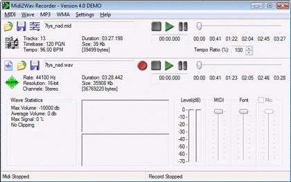 Midi2Wav Recorder Screenshot