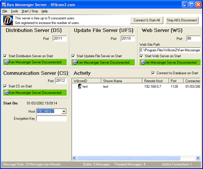 Ken Messenger Server Screenshot