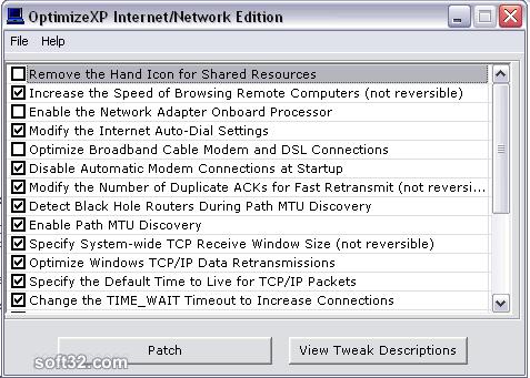 OptimizeXP Internet/Network Edition Screenshot 1