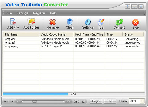 Video to Audio Converter Screenshot