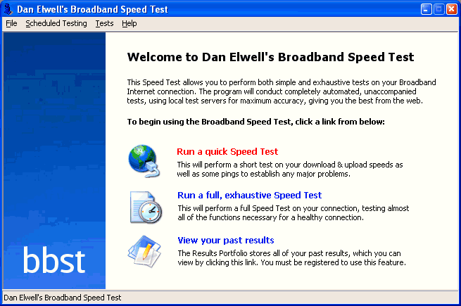 Dan Elwell's Broadband Speed Test Screenshot