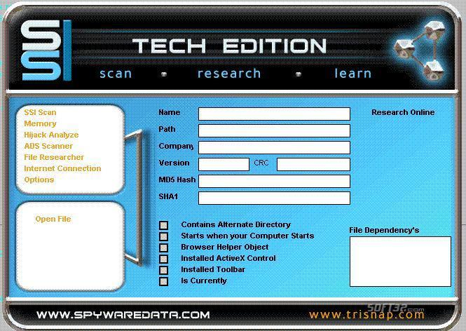 Spyware Interrogator Screenshot