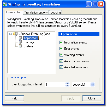 WinAgents EventLog Translation Service Screenshot