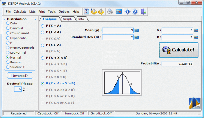 ESBPDF Analysis - Probability Software Screenshot 1