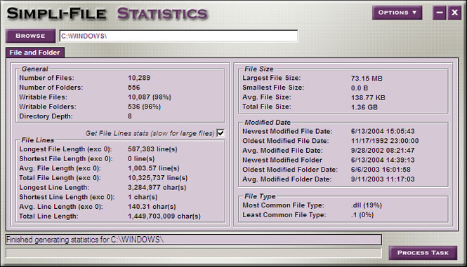 Simpli-File Statistics Screenshot
