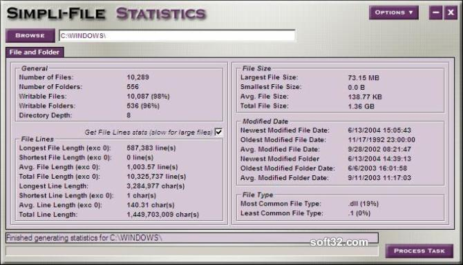 Simpli-File Statistics Screenshot 2