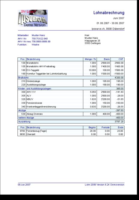 Lohnabrechnung Lohn 2009 Screenshot 1