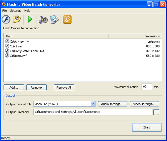 Flash to Video Batch Converter Screenshot 1