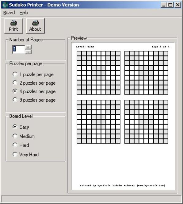 Sudoku Printer Screenshot 1