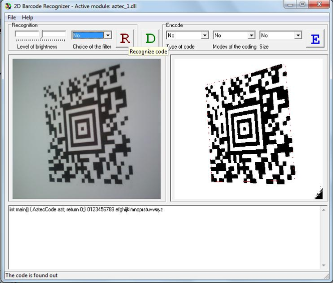 2D Barcode Recognizer Screenshot
