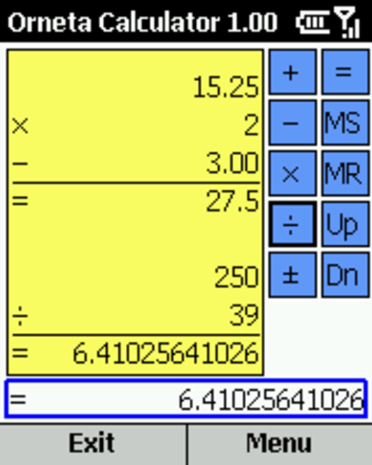 Orneta Calculator for Smartphone 2002 Screenshot