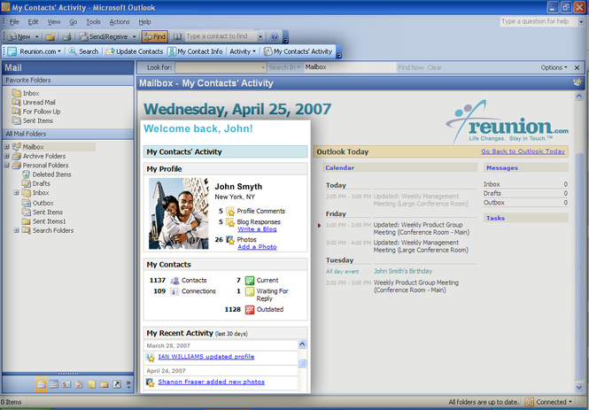 Reunion.com for Outlook Screenshot