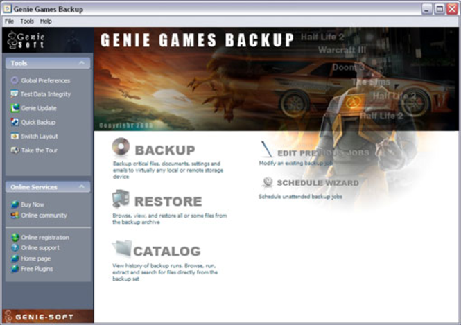 Genie Games Backup Screenshot