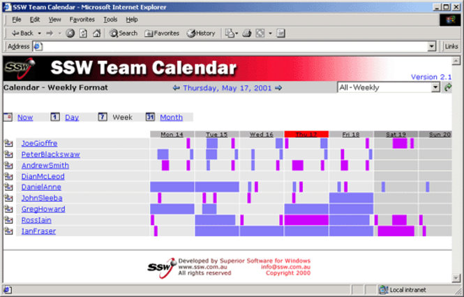 SSW Team Calendar for Exchange 2000 Screenshot