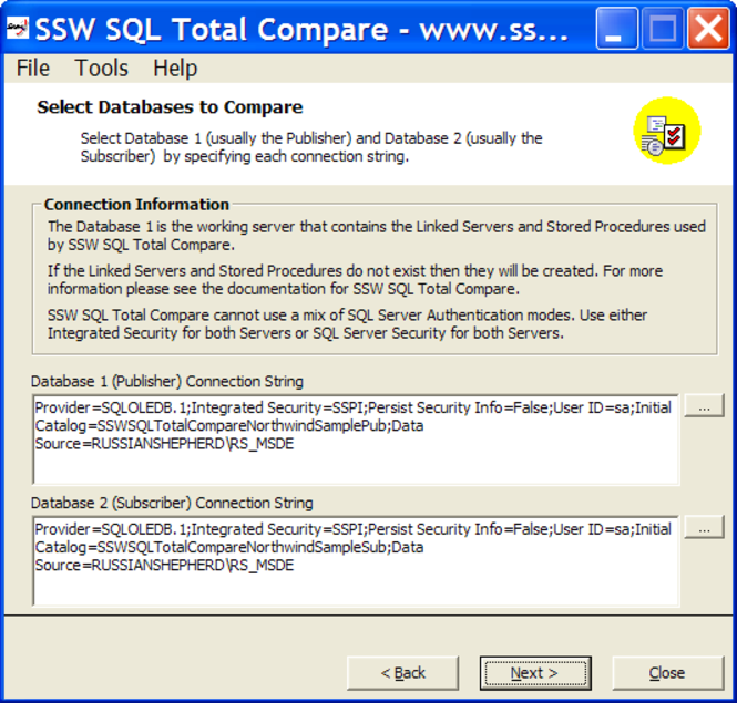 SSW SQL Total Compare Screenshot