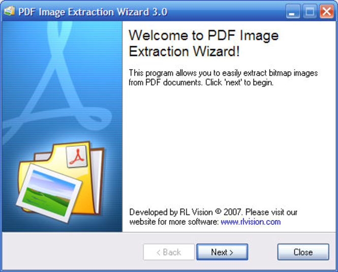 PDF Image Extraction Wizard Screenshot 1