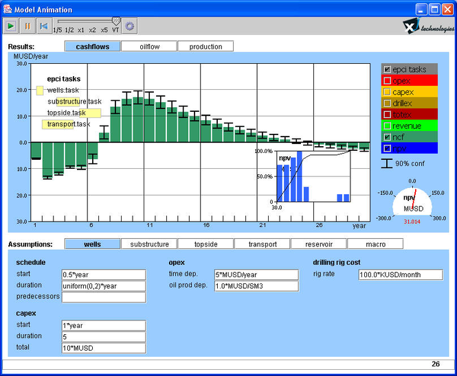 Simple Oil Field NPV Simulation Tool Screenshot 1