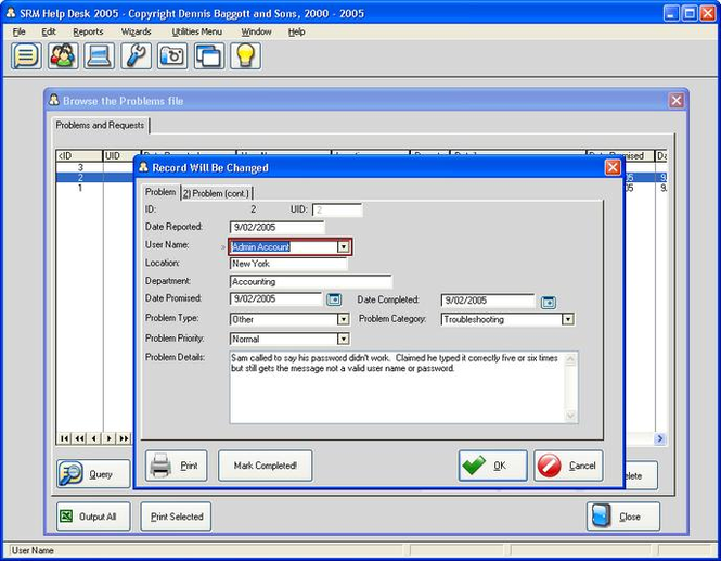 SRM Help Desk 2005 Screenshot 2